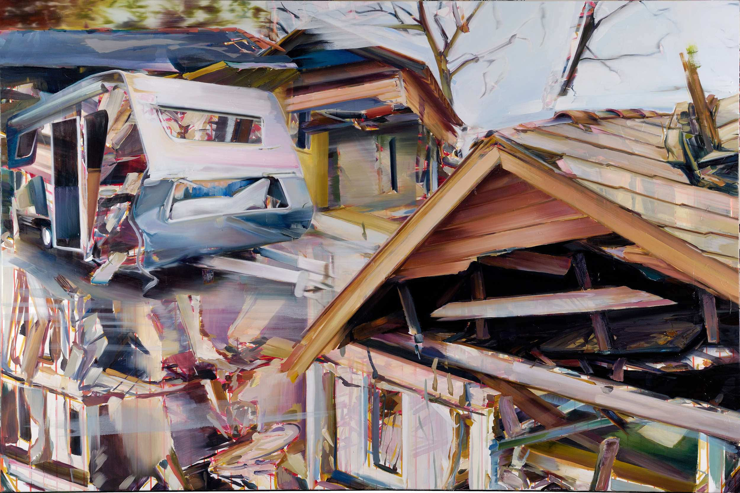 Untitled (The physical impossibility of being in two places at once) , 2009, oil on canvas, 200 x 300cm. Private collection, France