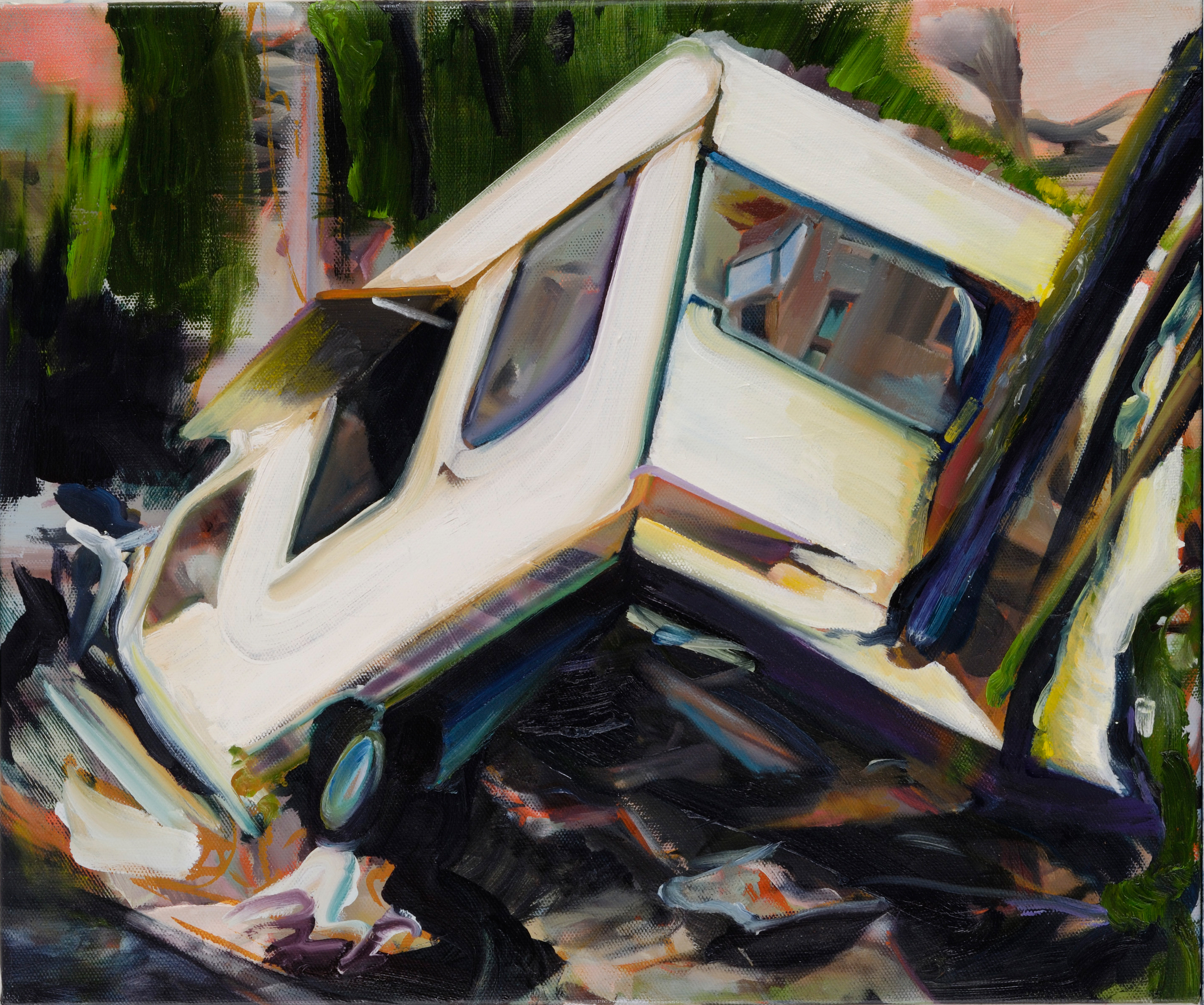 Mobile home , 2007, oil on canvas, 54 x 65cm. Olivier Masmonteil collection, France