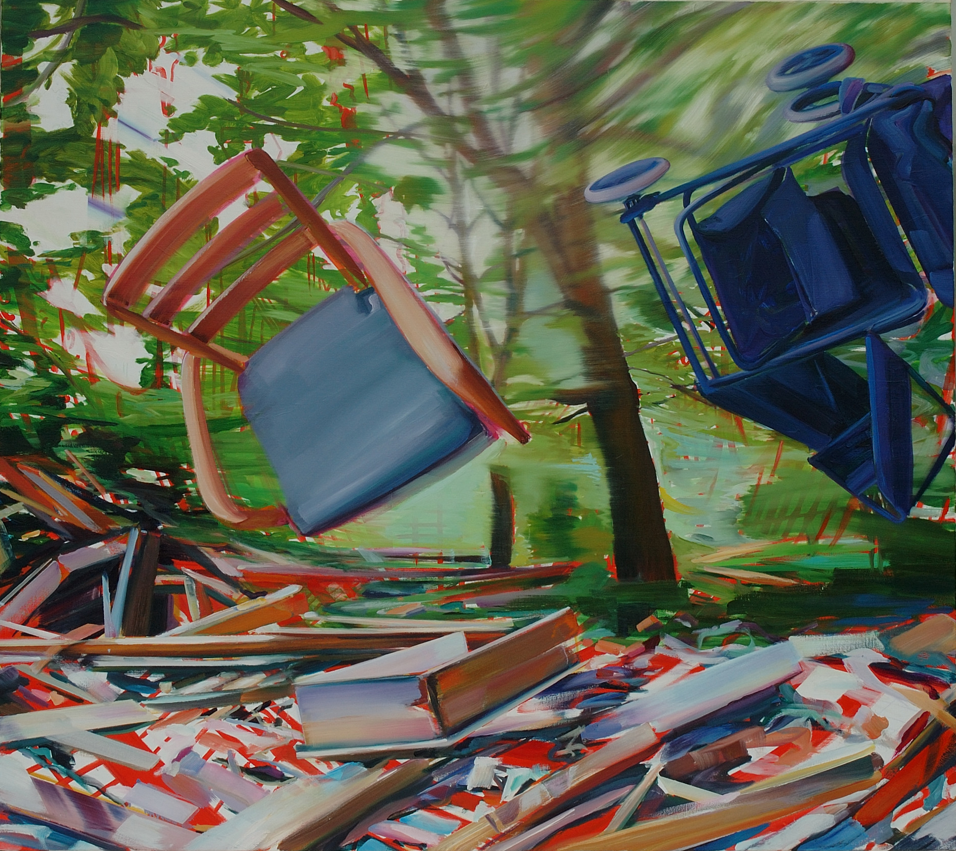 Mobile home , 2007, oil on canvas, 142.5 x 160cm. Maison Marin collection, France