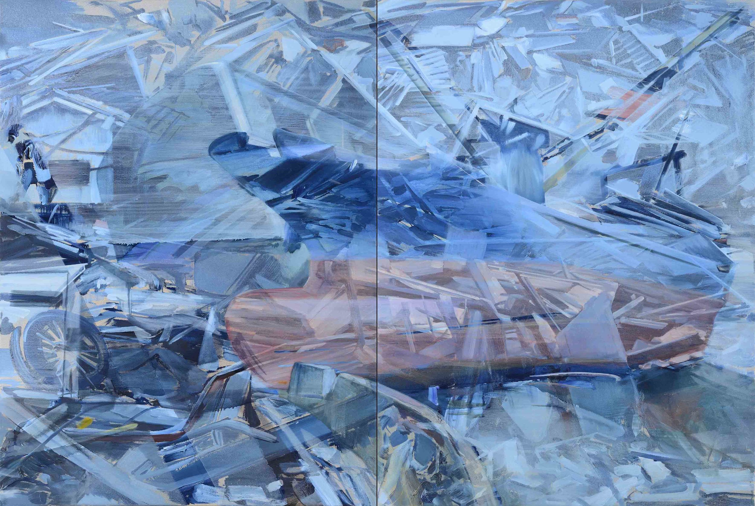 L'Annonciation , 2011, oil on canvas, 130 x 194cm (diptych). Private collection , France