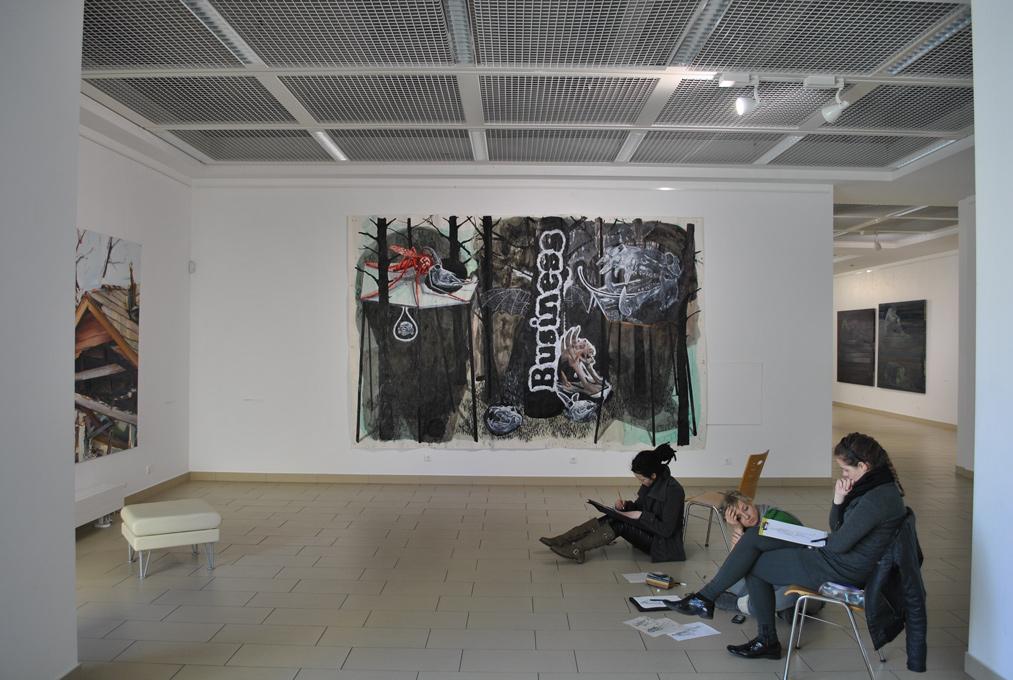D'après la ruine, Titanic Rooms,Academy of Fine-Arts,Vilnius (LH). Curator Renaud Serraz.Artists in view : Duncan Wylie, Damien Deroubaix, Iris Levasseur