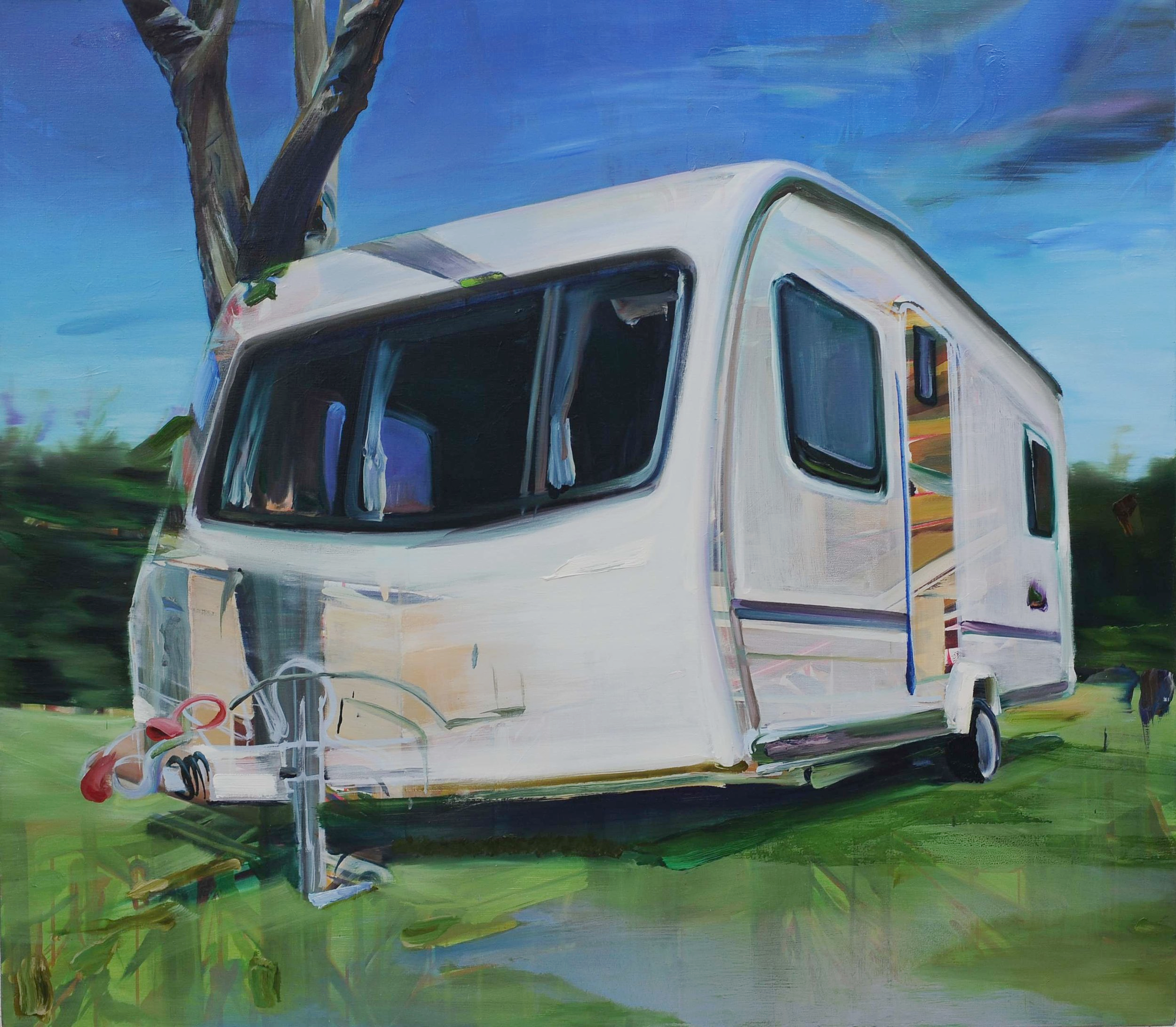 Untitled (Mobile Home) , 2009, oil on canvas, 140 x 160cm. Private collection, Switzerland