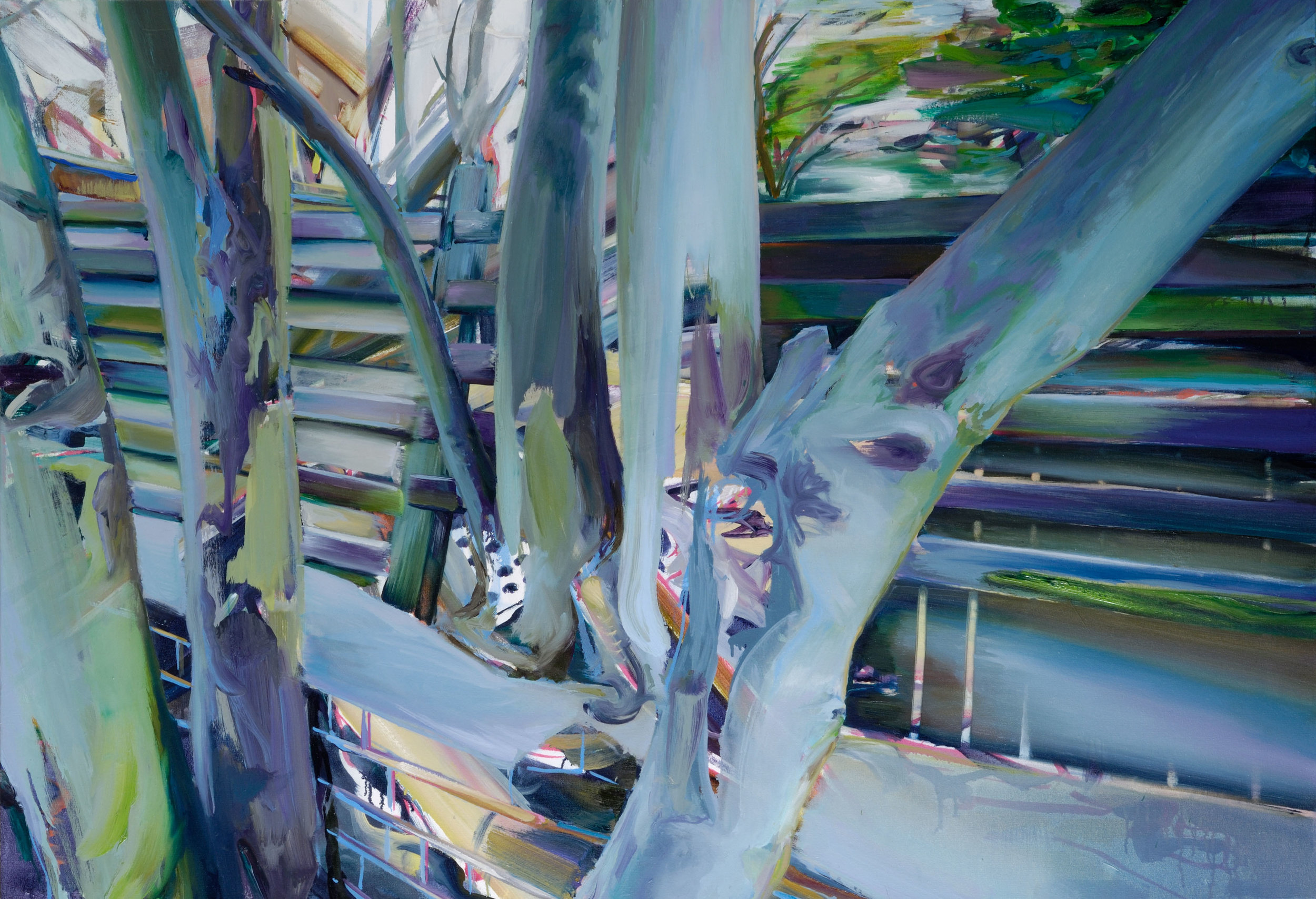 Fence(2) , 2008, oil on canvas, 89 x 130 cm. Private collection, France