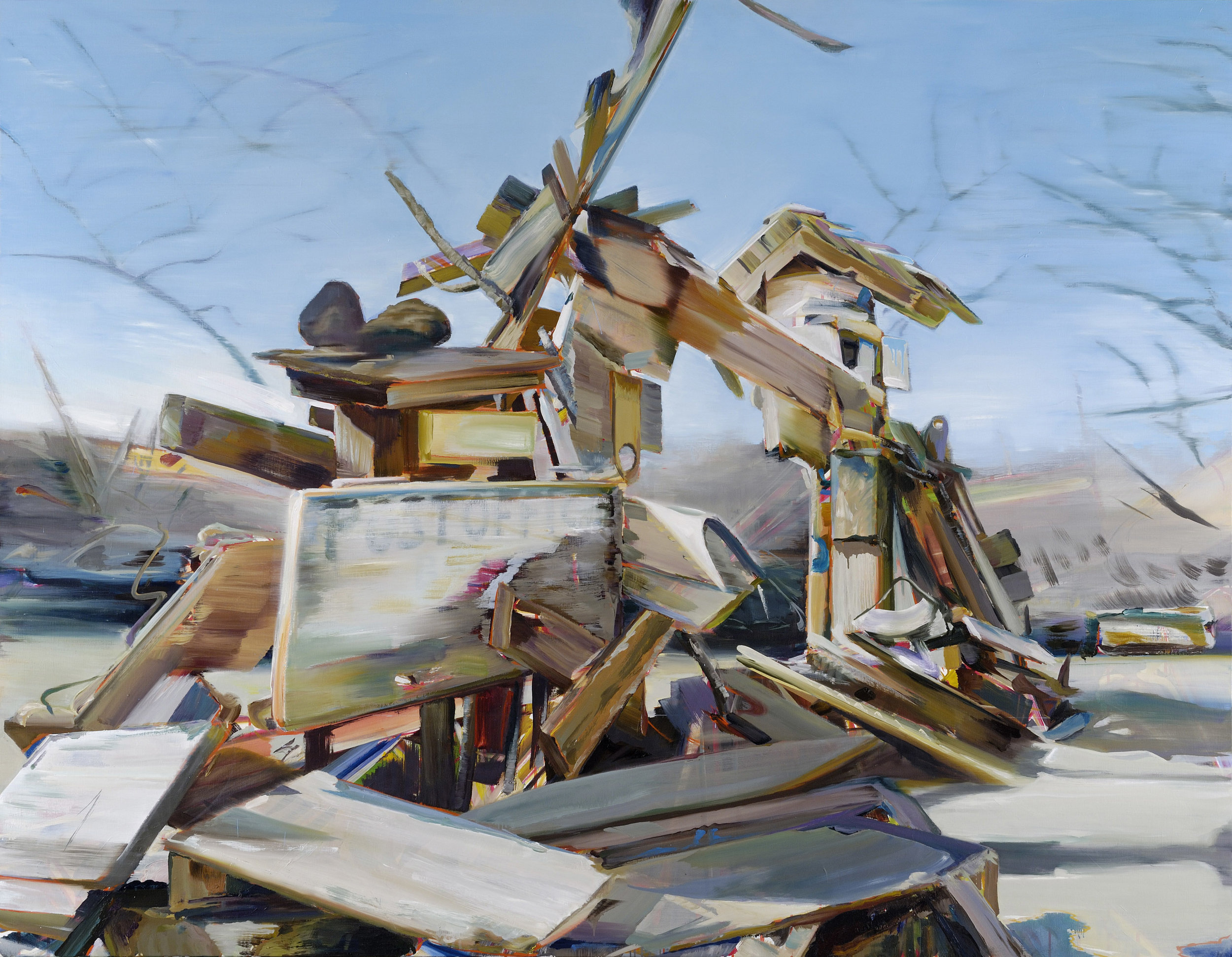 Post-Office (Utopia has no fixed abode) , 2009, oil on canvas, 183 x 235cm. Collection CBK, Amsterdam