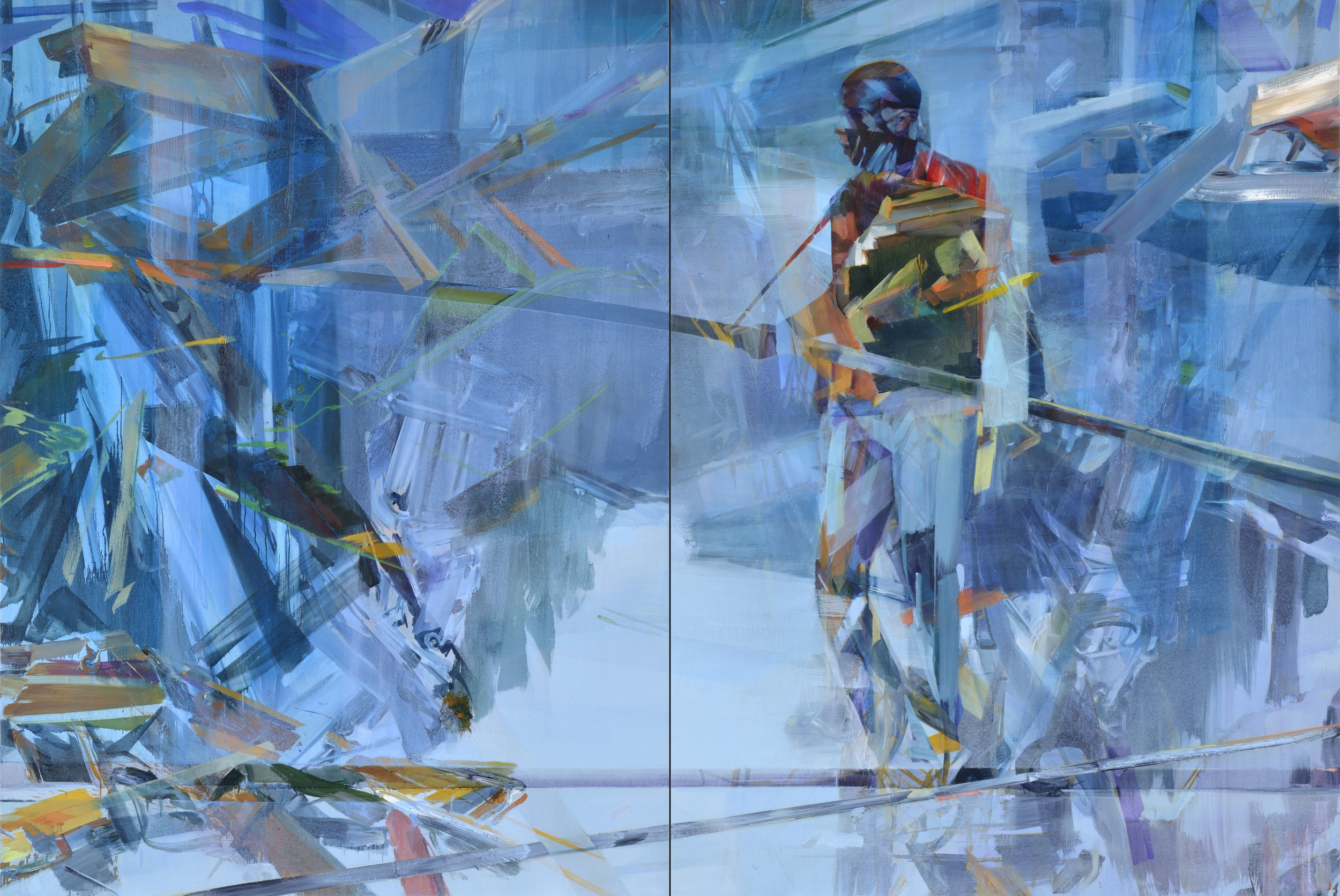 Timeline , 2015, oil and alkyd on canvas, 200 x 300cm (diptych). Private collection (Belgium)