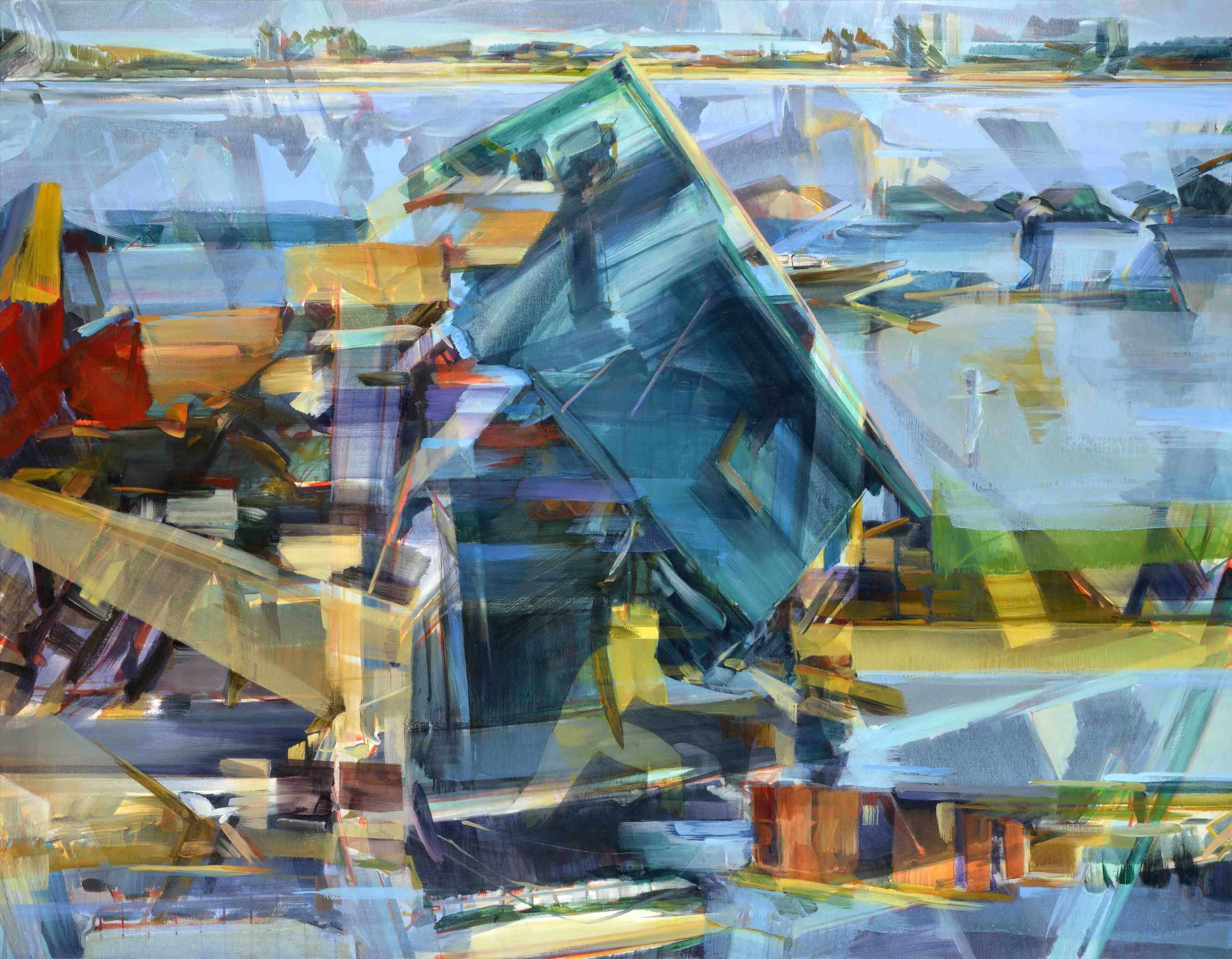 Multiple realities (multiple events) , 2016, oil and alkyd on canvas, 183 x 235cm. Private collection, France