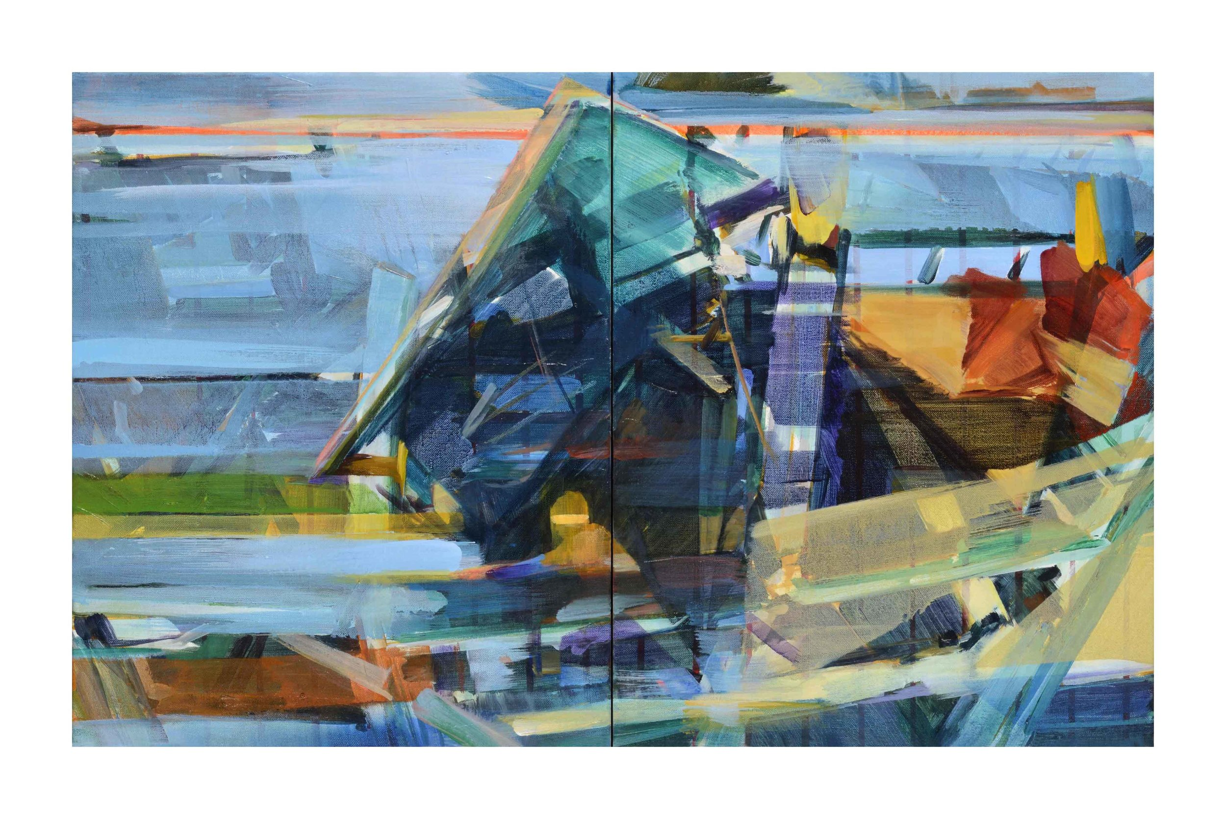 Multiple realities (multiple horizons) , 2016, oil on canvas, 41 x 66cm,(diptych)