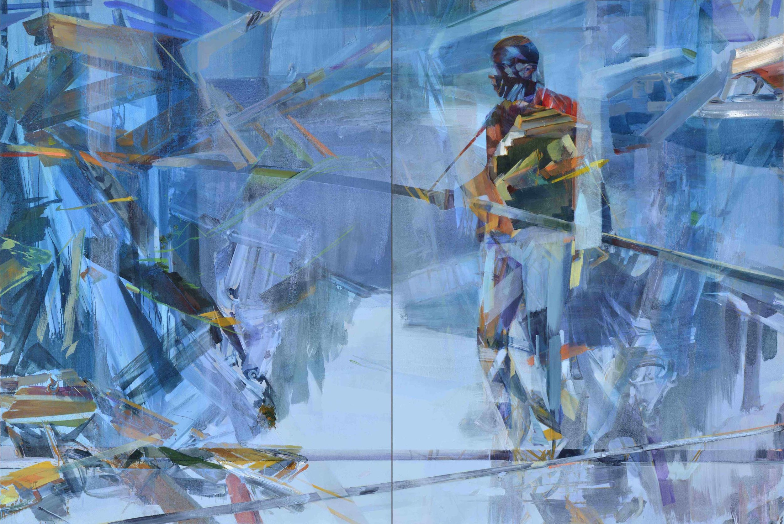 Timeline, 2015, oil and alkyd on canvas, 200 x 300cm (diptych)