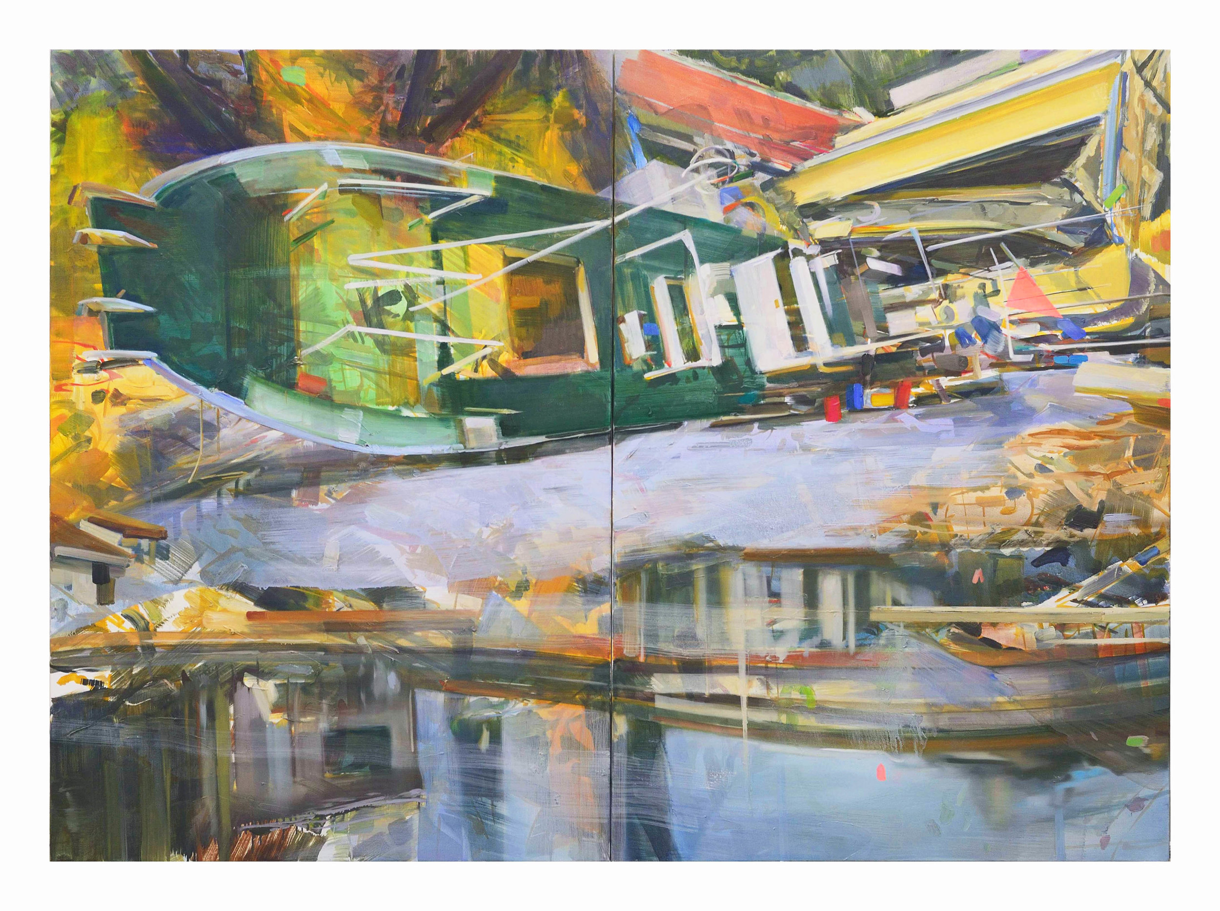 Fitzcaraldo , 2011, oil on canvas, 130 x 178cm (diptych). Private collection, Switzerland