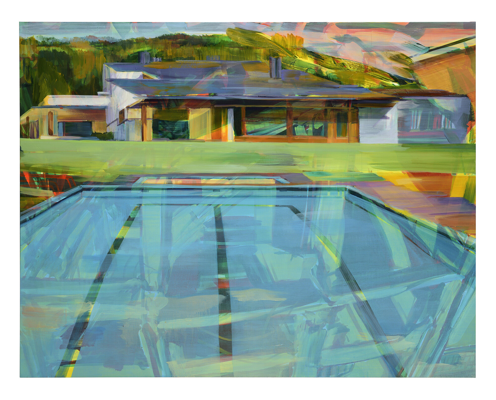 Volume and Surface (Honde valley pool et la Maison Louis Carré) , 2018, oil on canvas, 140x180cm