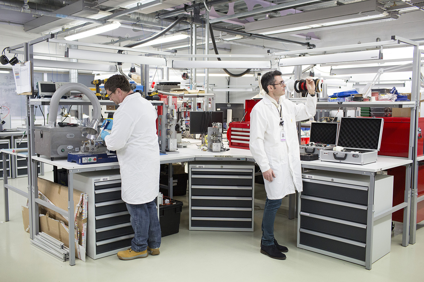 The motors build lab at Dyson headquarters.