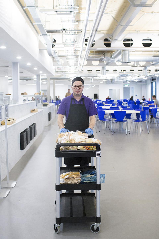 A lunch worker inside Dyson HQ.