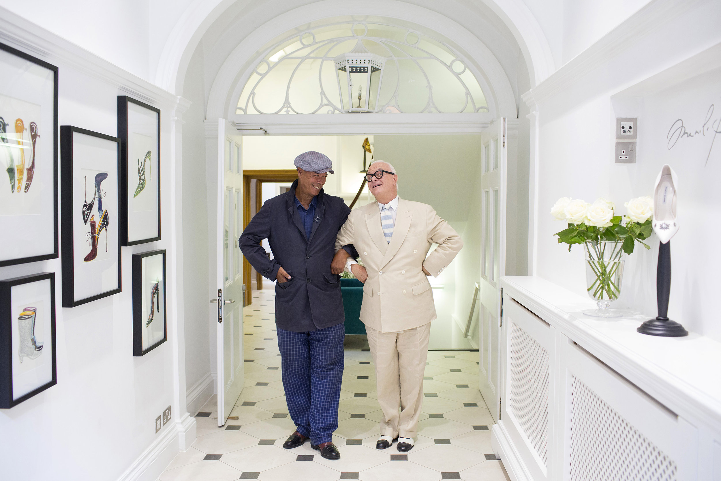 Manolo Blahnik and Michael Roberts, photographed in London for The New York Times