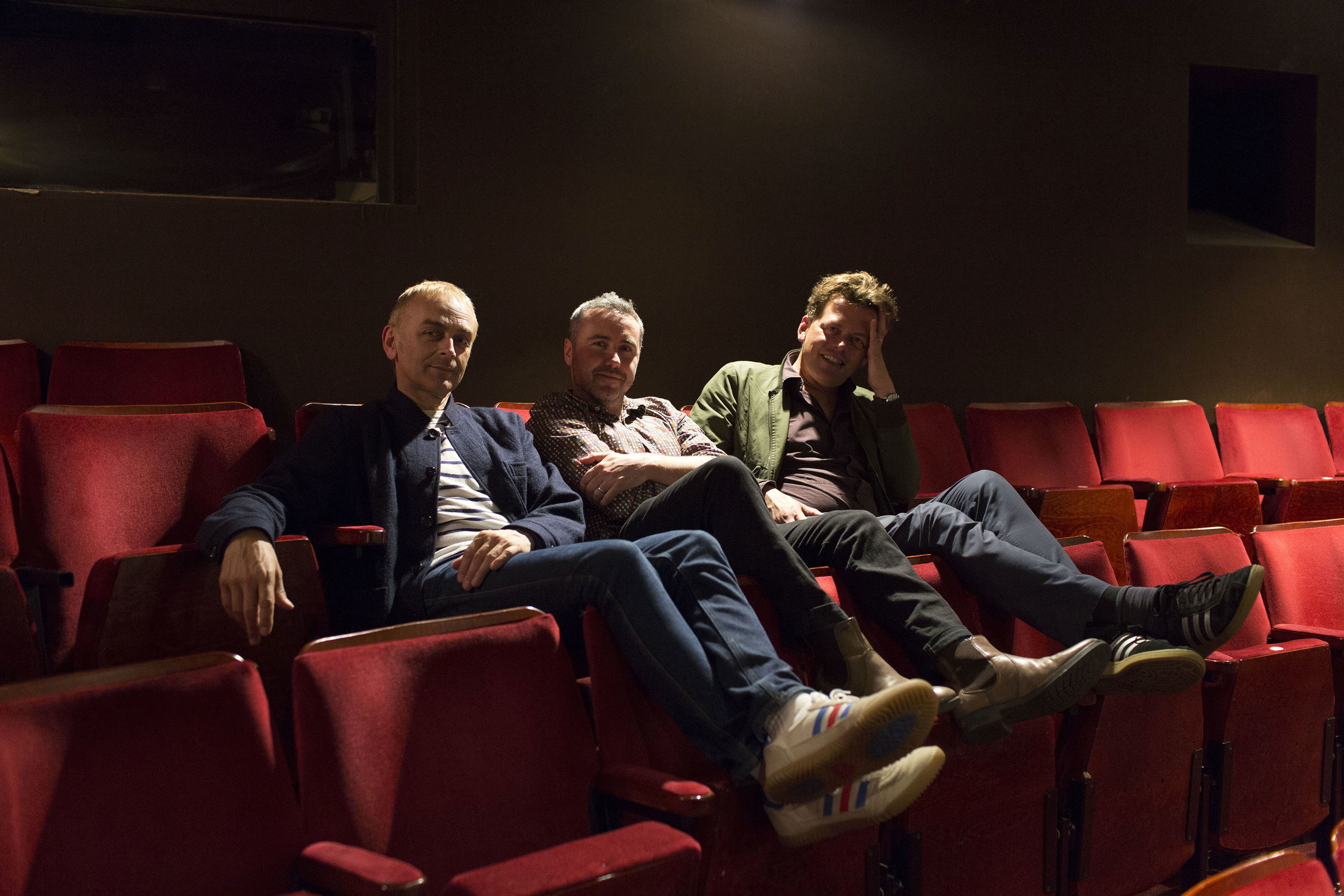 Karl Hyde, Scott Graham and Simon Stephens at the Lyric Hammersmith theatre in London for The New York Times