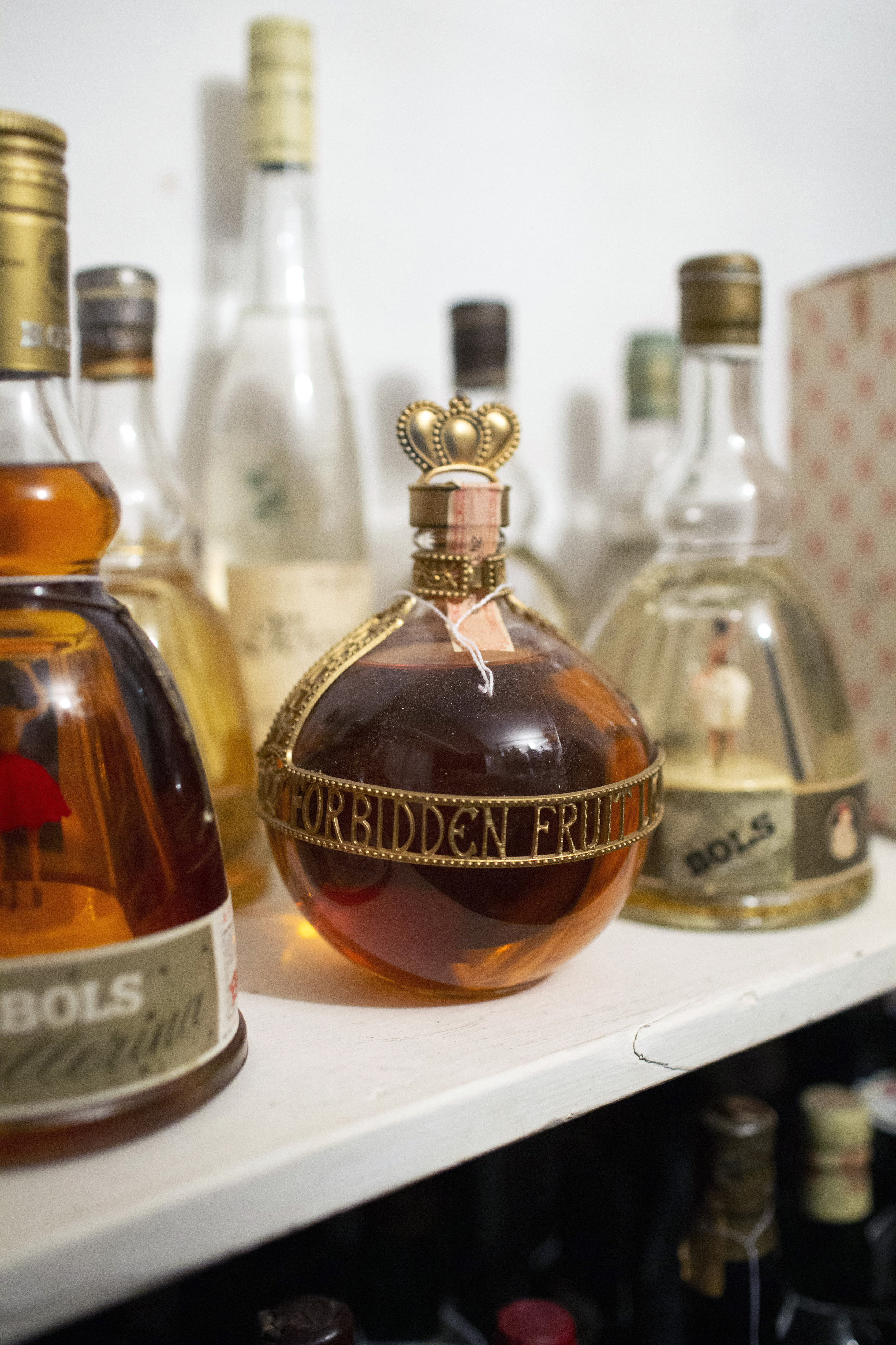 Forbidden Fruit Liqueur in the bottle style that would later be used for Chambord.
