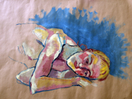 Cosetta dreaming  oil on kraft paper  24x30