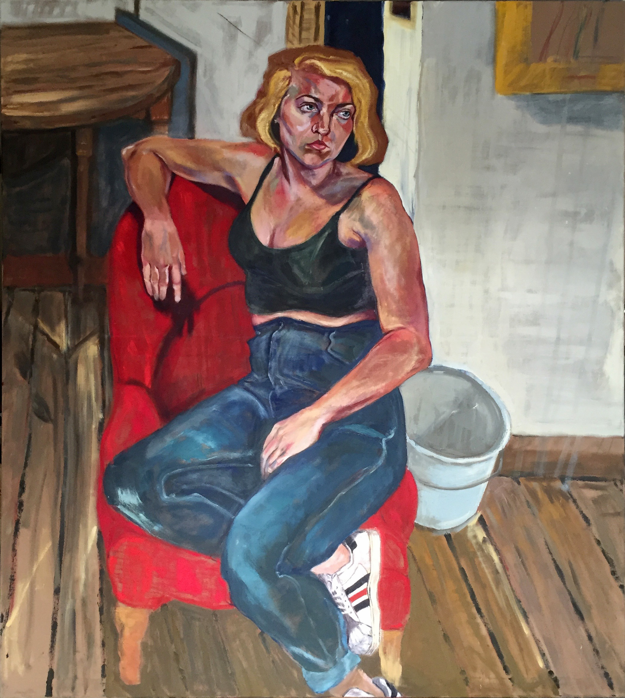 Arielle looking into her future (Jelly)  oil on canvas  approximately 63x68