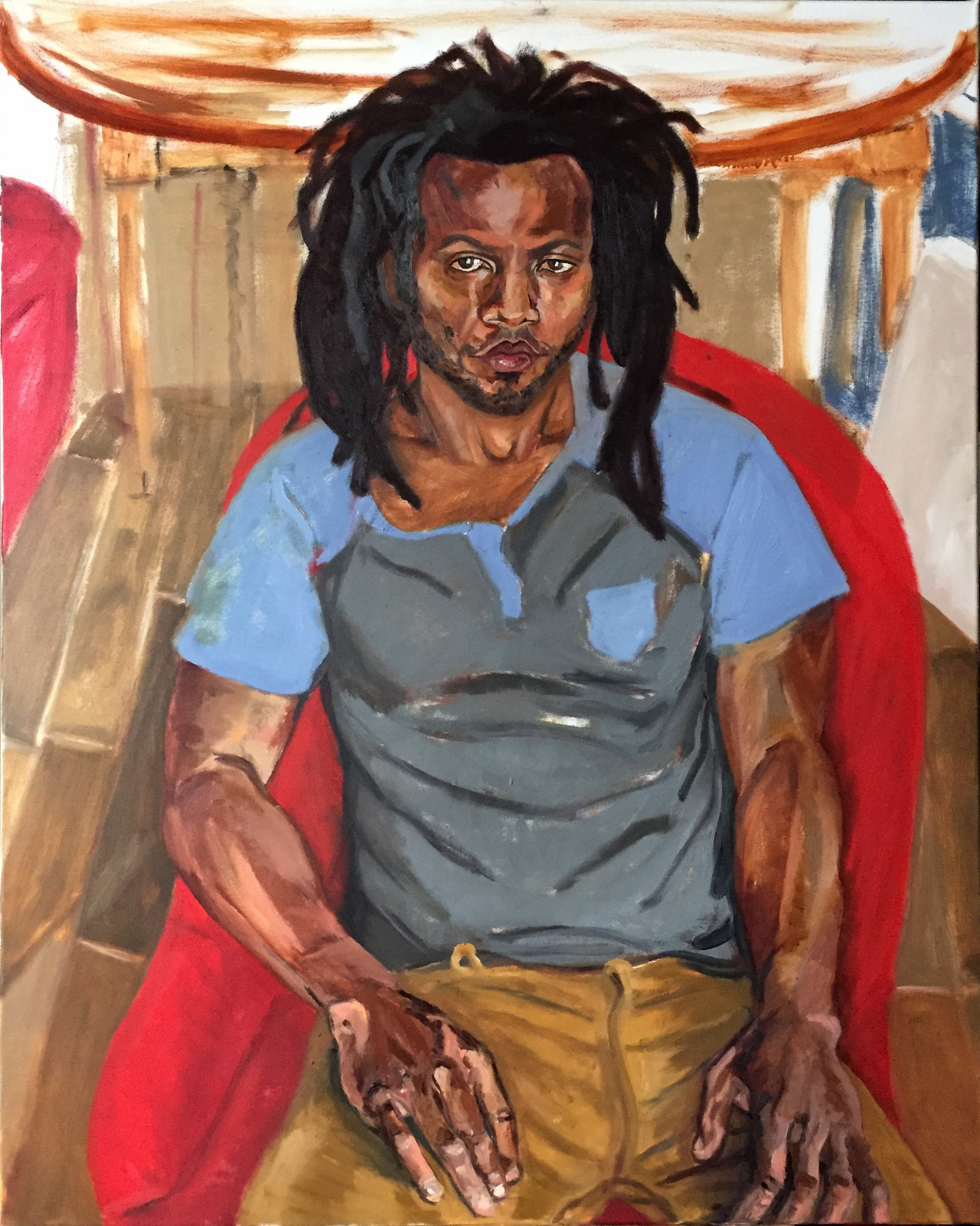 Jamaal, my love. (unfinished)  oil on canvas  approx. 30x40