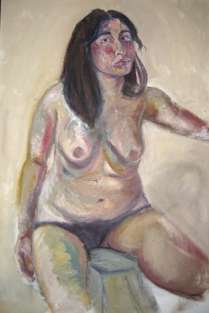 self portrait half nude  oil and sand on canvas  40x60