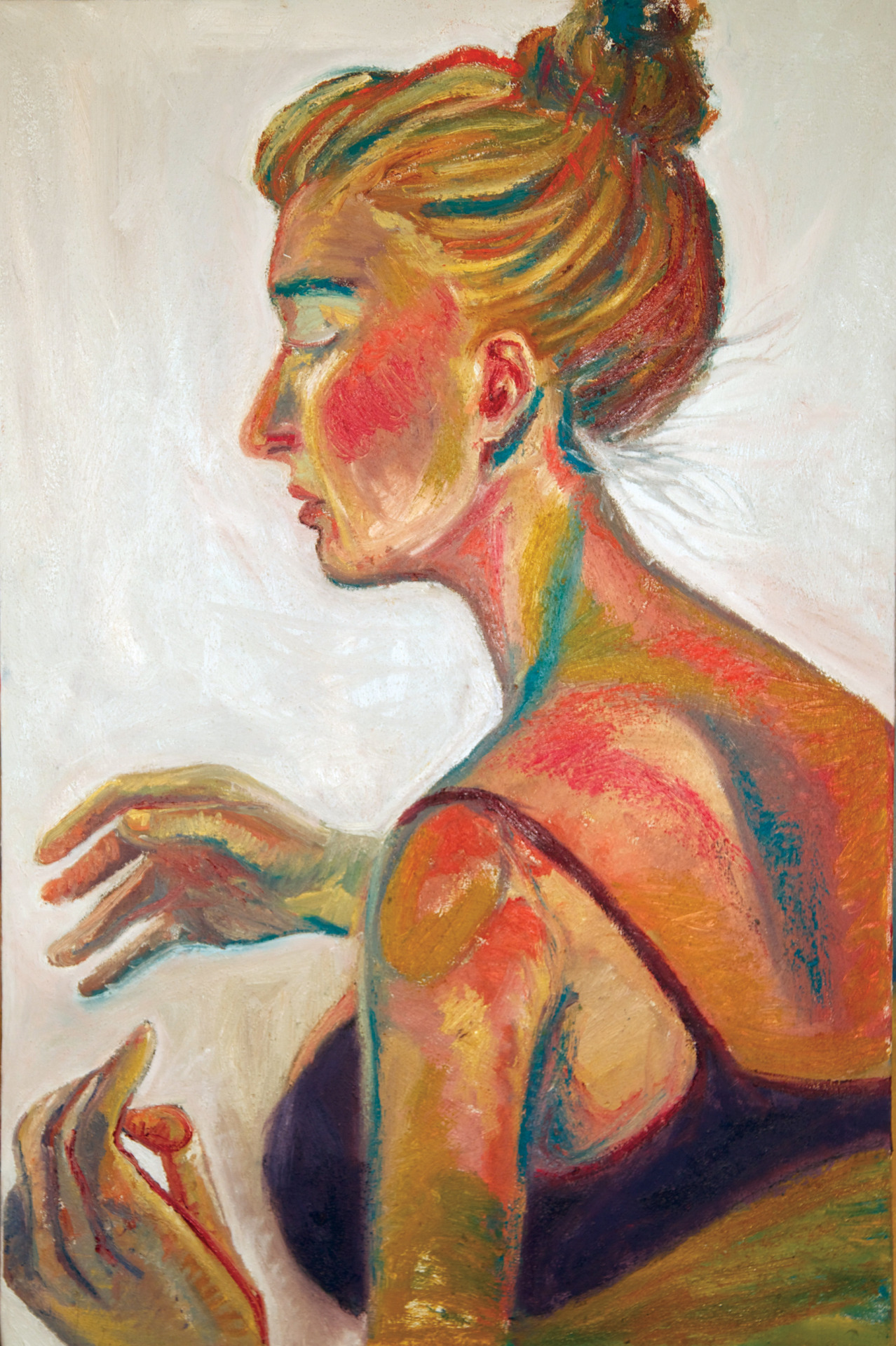 Irene  oil and sand on canvas  20x34