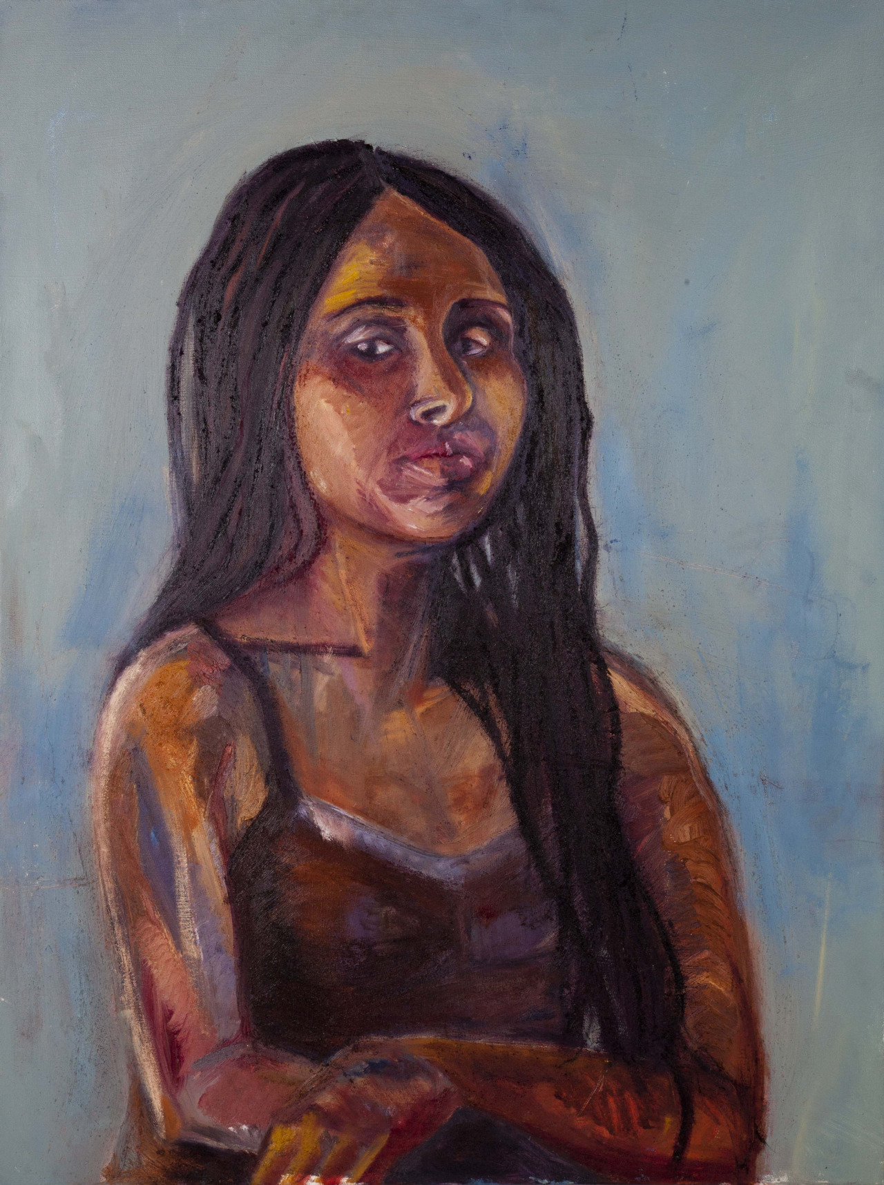 Yasmine  oil and sand on canvas  26x30