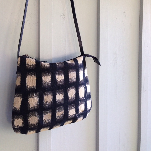 """""""Doris, the Day Bag' in a hand painted discharge on Cotton Twill, with leather strap."""