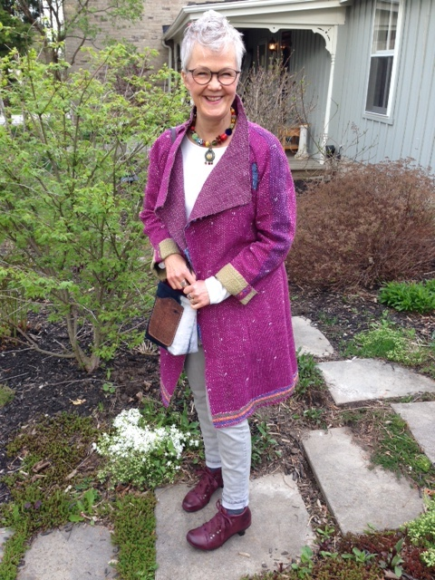 Me, in my garden in the spring time before it gets full, wearing a jacket made from a wonderful Kantha quilt. Would you like to see one like this?