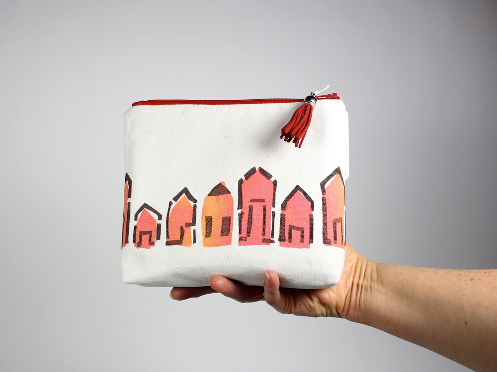 """""""Houses' made into a cute little pouch"""