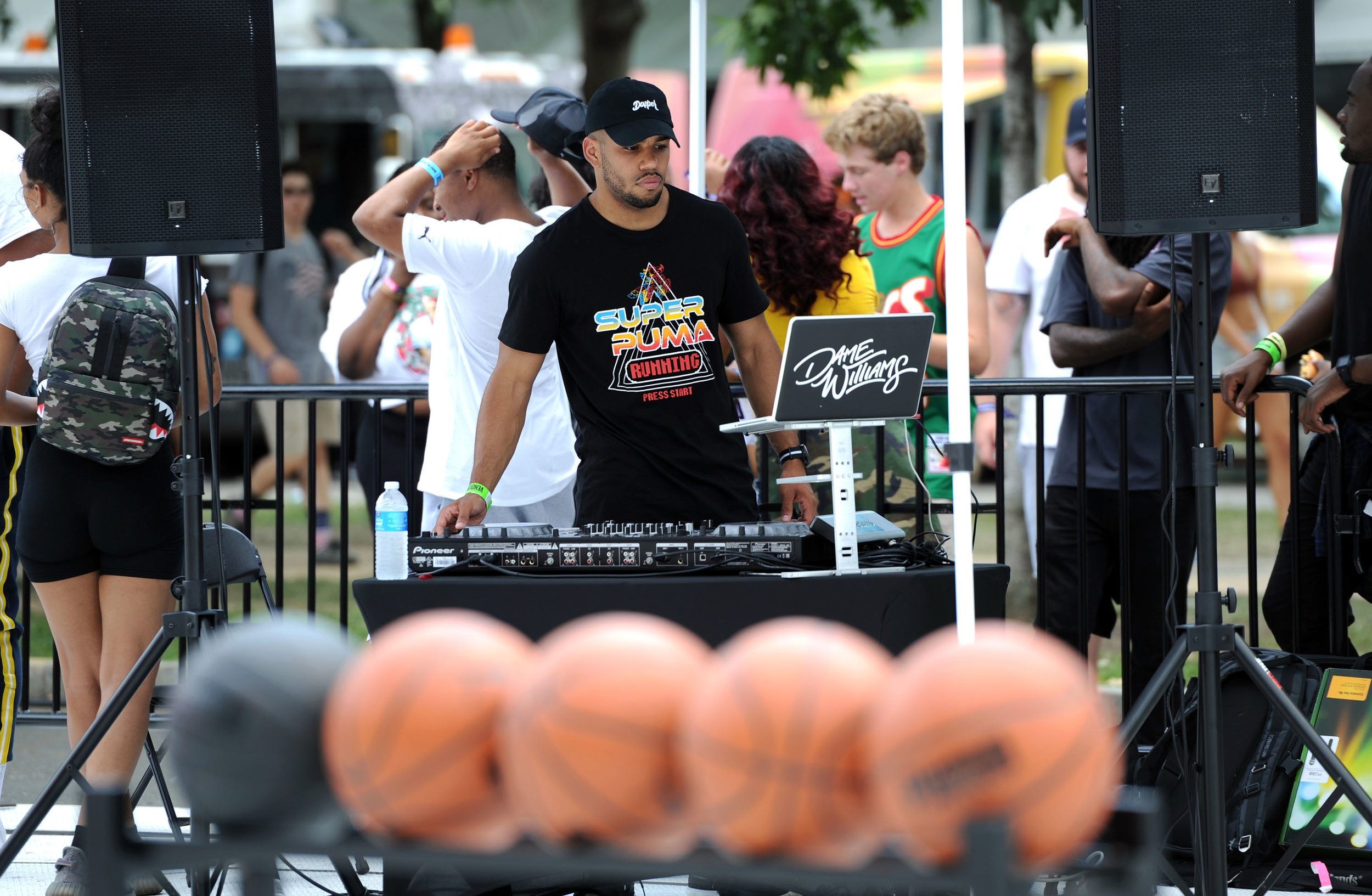 DJ Dame Williams at Made In America PUMA Celebrity 3-Point Contest ft. Basketball Star Rudy Gay