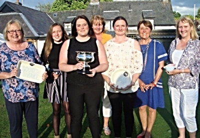 From left: Kim Allen, Grace Edwards, Lisa Hughes (Rosebowl winner), Hayley Price, Sherrie Edwards (Lady Captain), Sue Parry (Lady President), Kara Parker