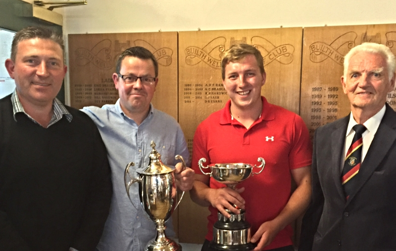 B&R County Champion, Gareth Jones, nett winner Tom Samuel with Chris Offa (Club Captain, left), Gwynfor Evans (B&R County President, right)
