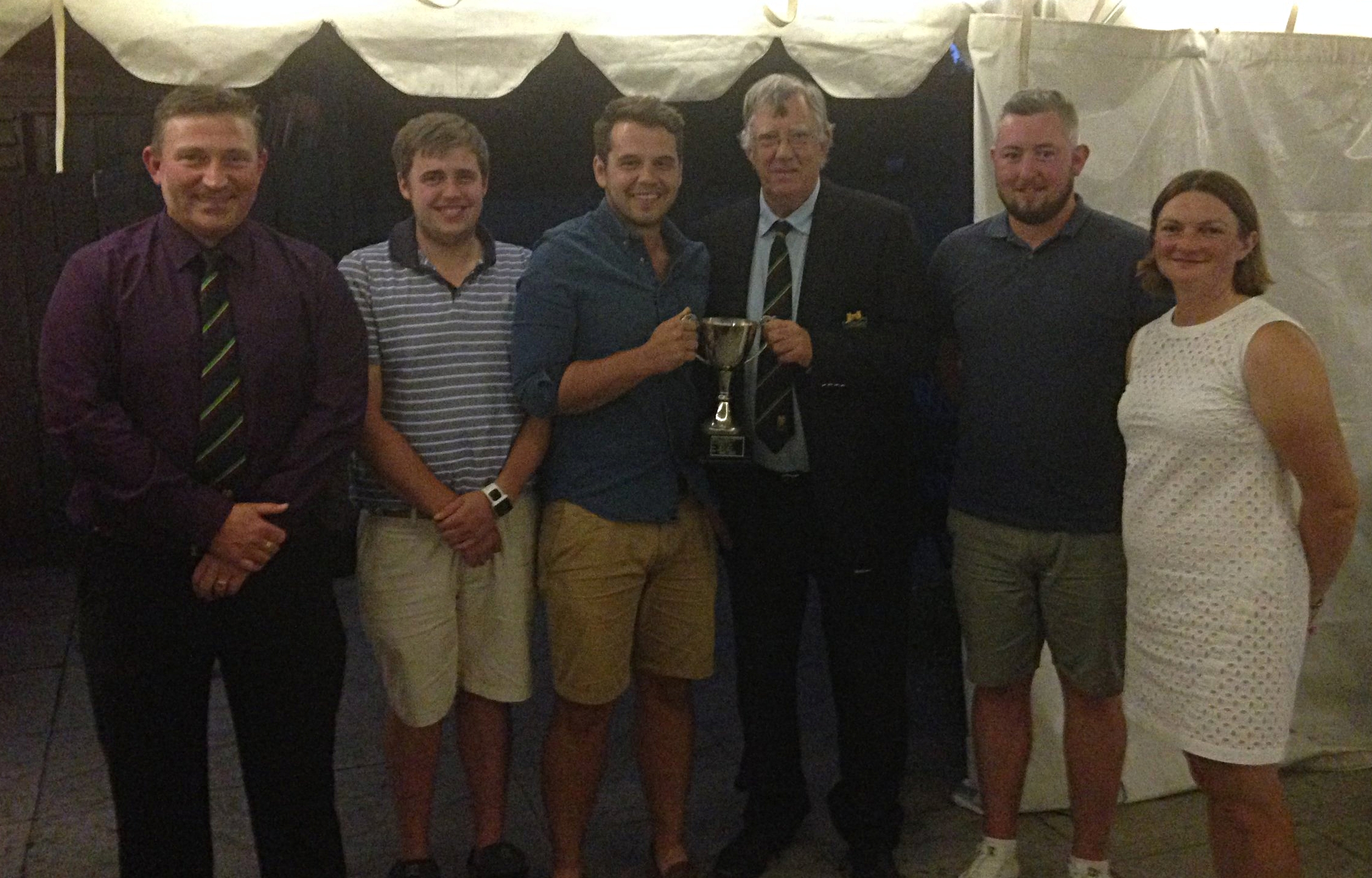 Cumberland Cup winners Tom Mills, Dan Goodwin & Tom Price (Jon Samuel unable to attend) alongside Roger Cumberland (Trophy donor), Chris Offa (Club Captain), Sherrie Edwards (Lady Captain)