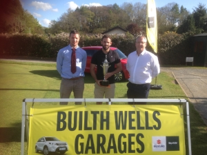Club Captain, Tom Davies, Sayce Cup winner, Sam Williams, Main Sponsor, Martyn Evans (Builth Wells Garages Limited)