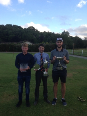 Tim Iveson (Centre - County & Club Champion) with on the left Josh Price, on the right, Rhys Davies (County net Champion)
