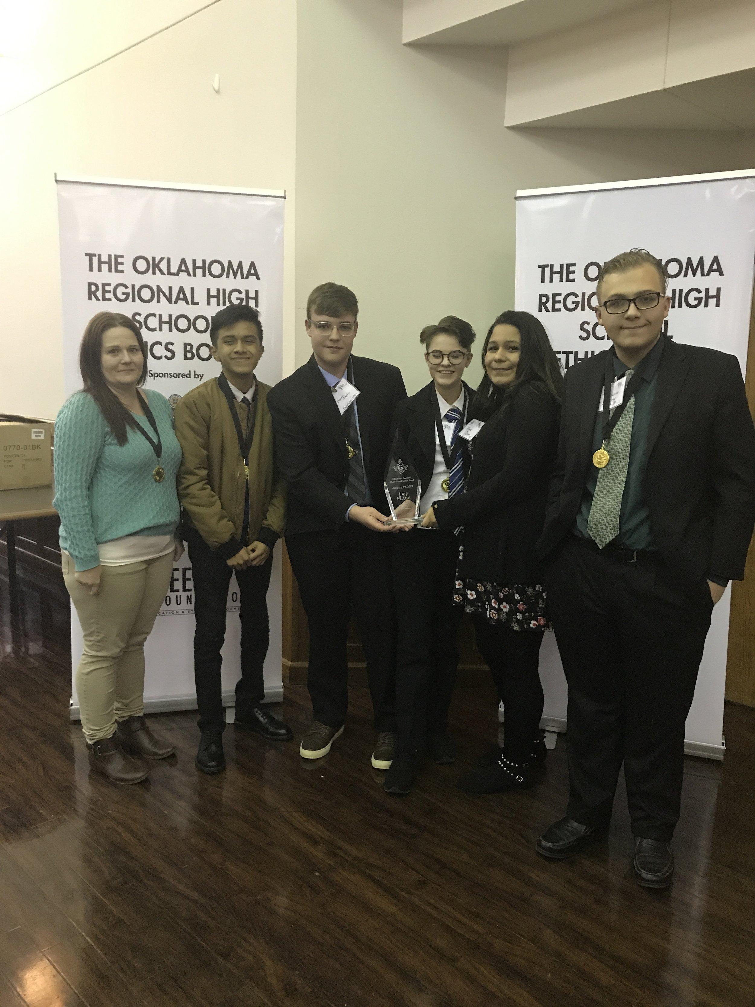 2019 3rd Annual Oklahoma Region High School Ethics Bowl Winner Dove Science Academy - team Super Ethics