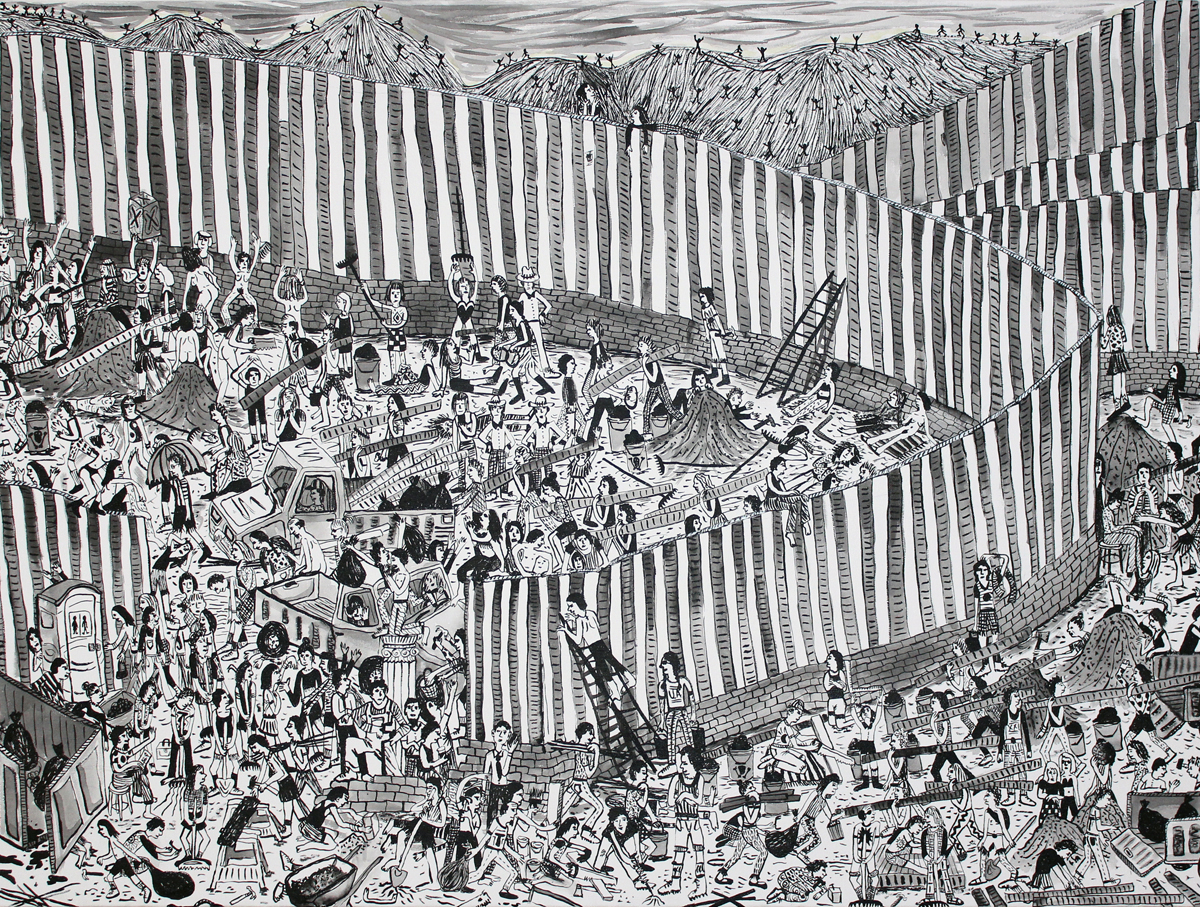 """Border Wall ink on canvas 36""""x48"""""""