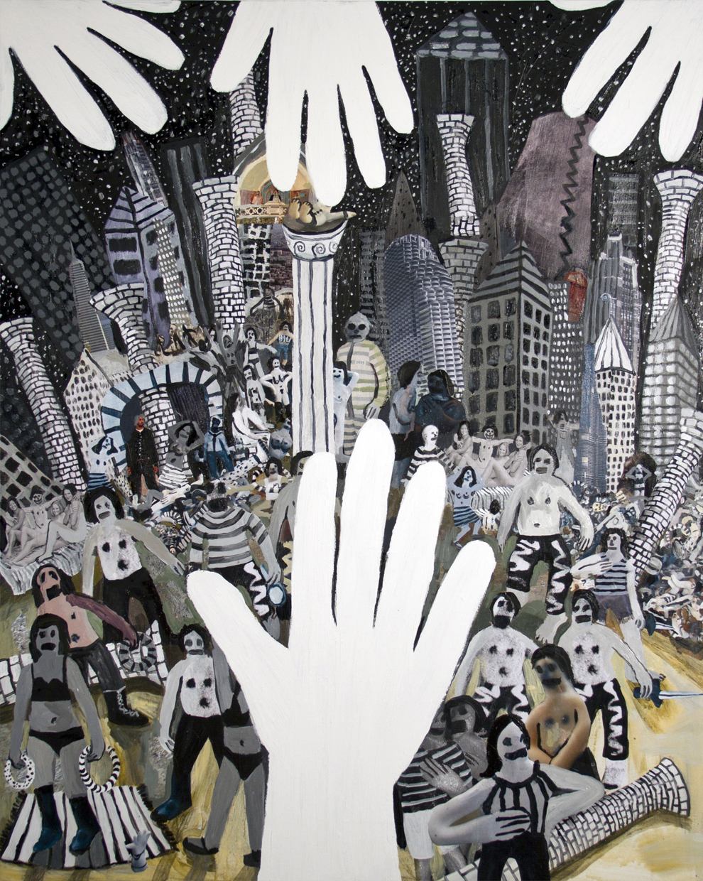 "Helping Hands  acrylic, oil, and collage on canvas  44.5""x36""  2011"
