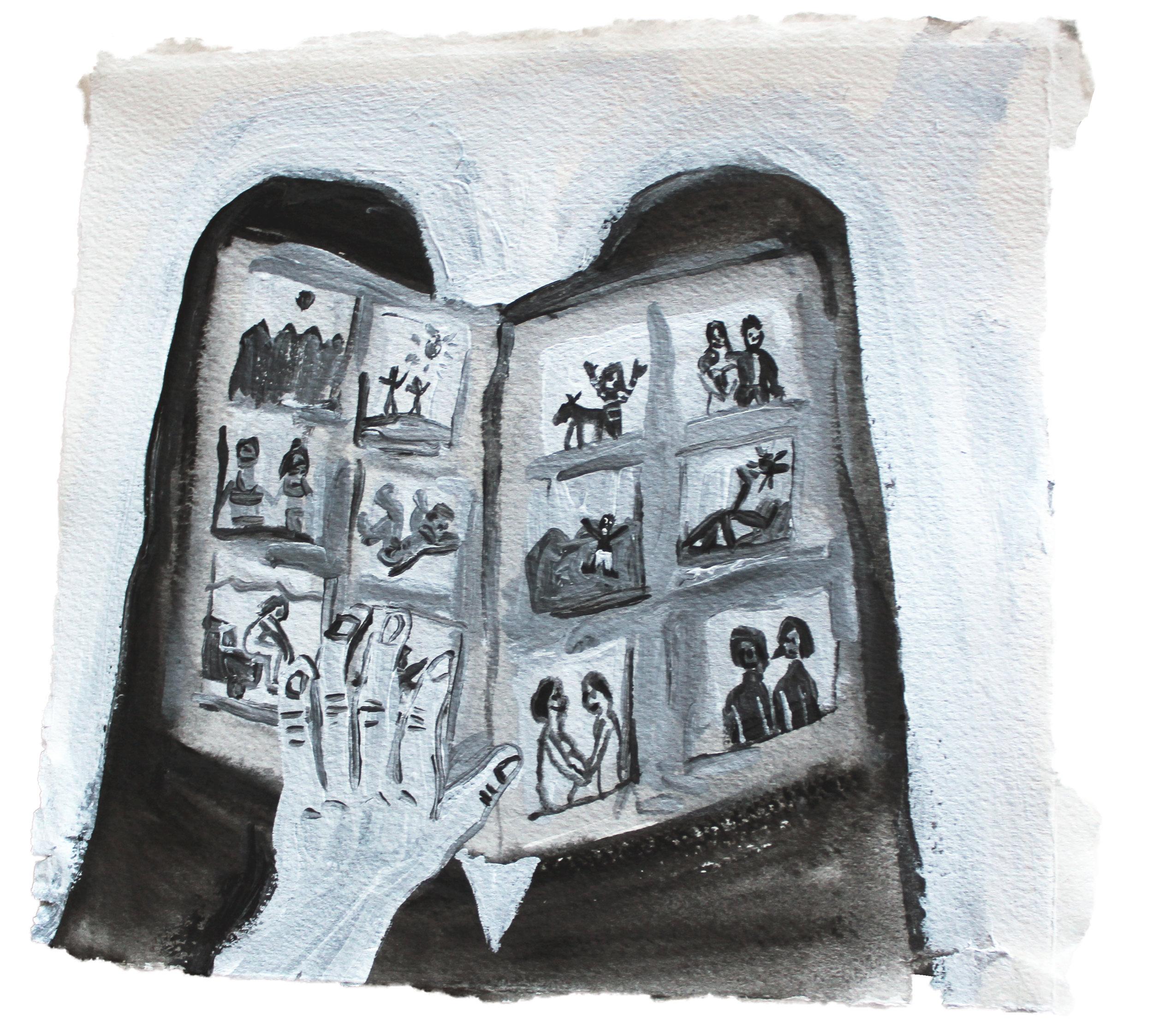 """Nostalgia  Acrylic on paper  7""""x7""""  2013"""