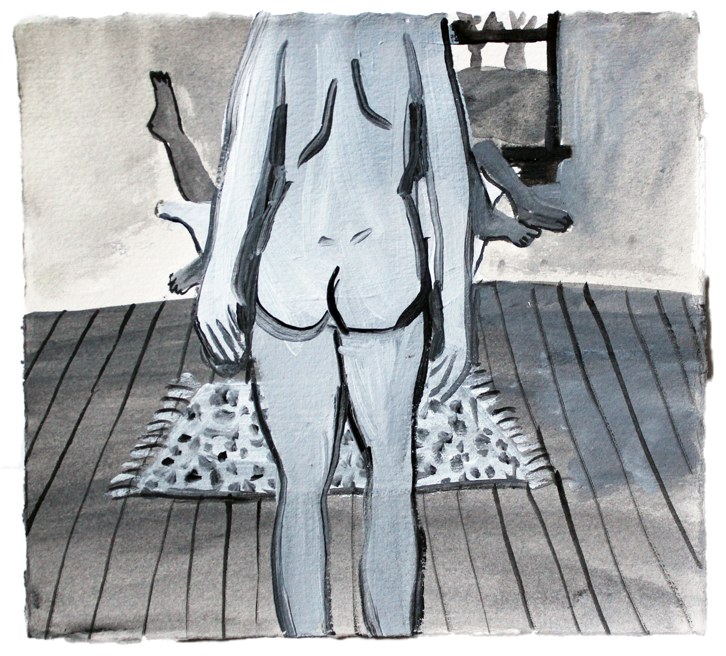 """Watching  acrylic on paper  7""""x7.75""""  2013"""