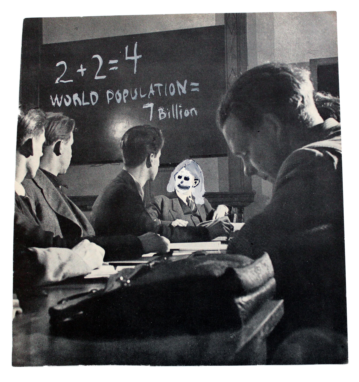 "Math Class  acrylic on found image  7""x6.5""  2013"
