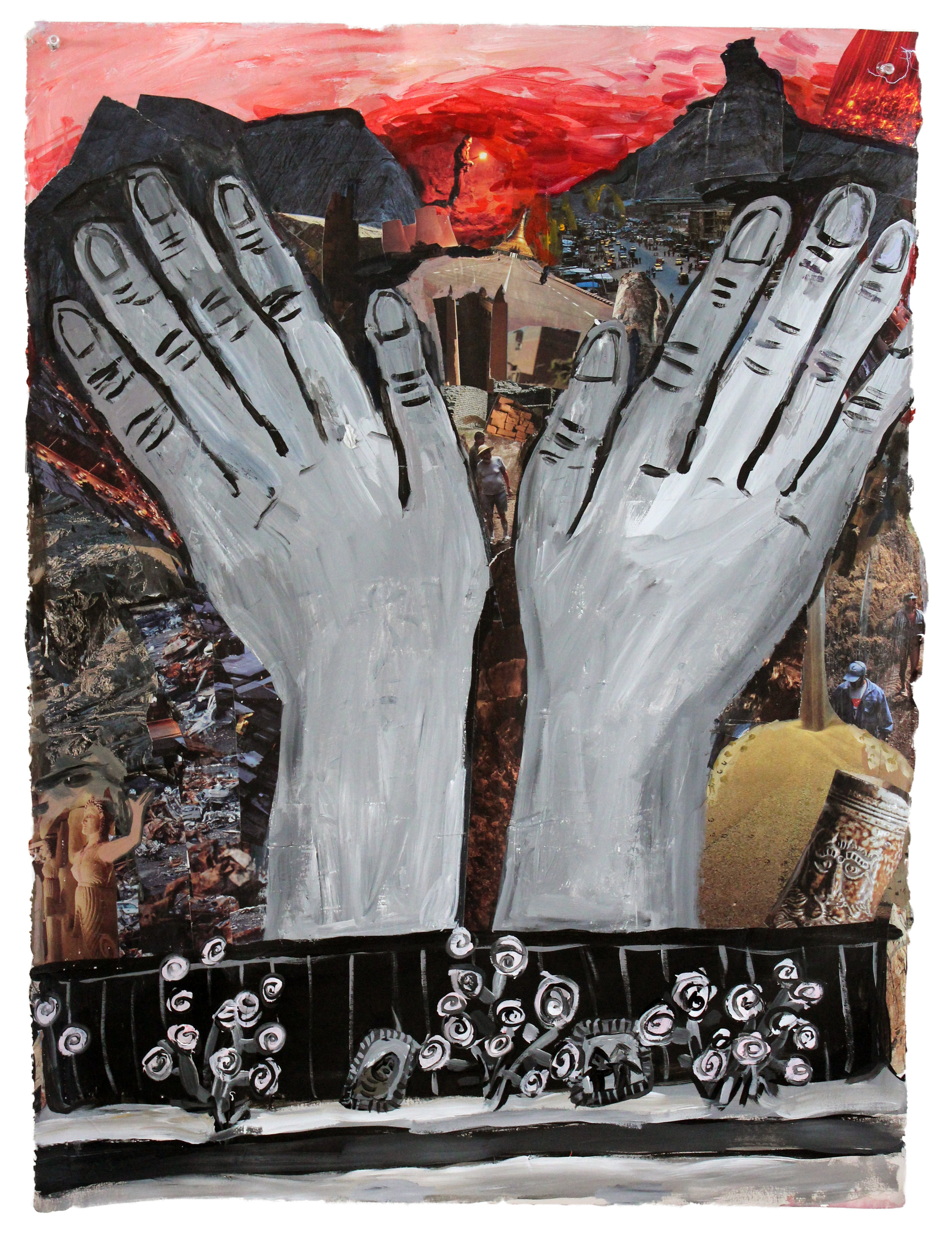 "Big Hands  acrylic and collage on paper  30""x22"""
