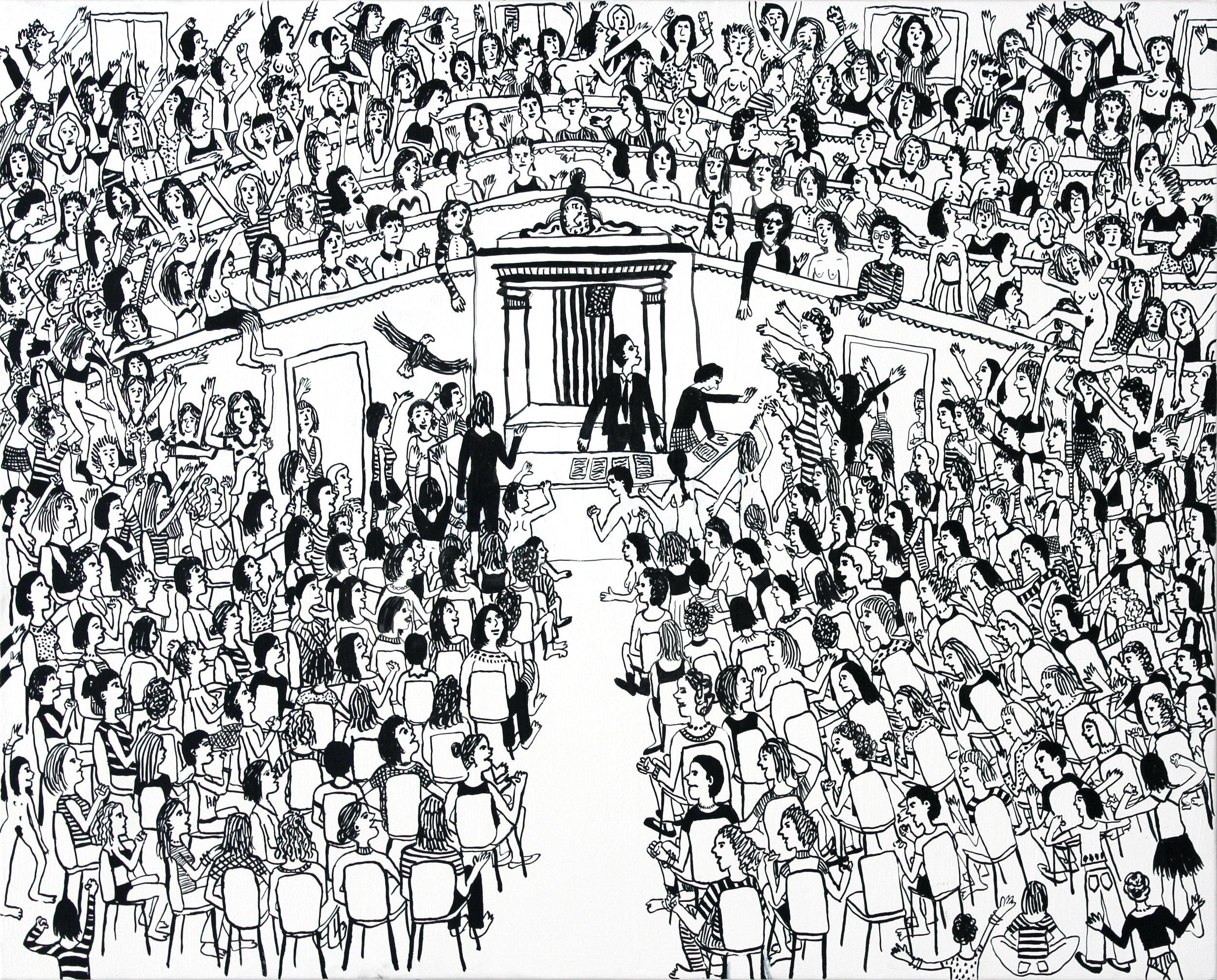 """Women Rule Congress  ink on canvas  20""""x24"""""""