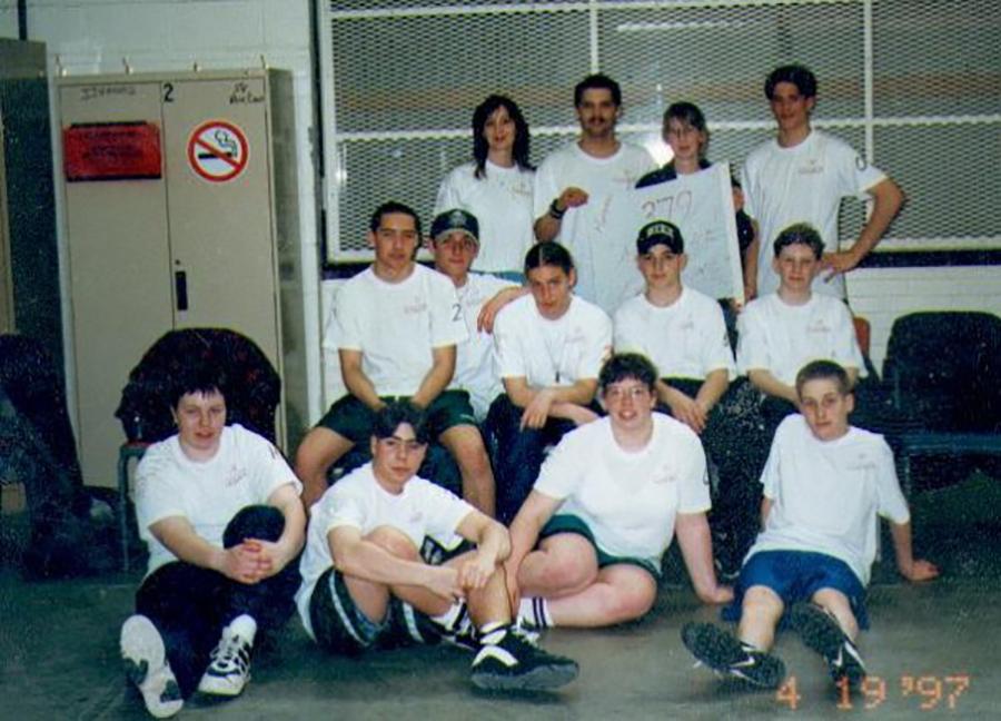 1997: Exertion team with cadets Heidi Egger, Marc Menard, Sandra Turton,  Rachelle Chantal , Perry Marr, Tracy Turton, Stephan Claude en Starr Hambleton.