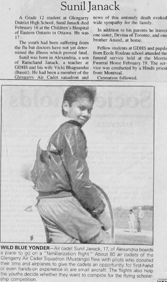 February 1987: Sad news.