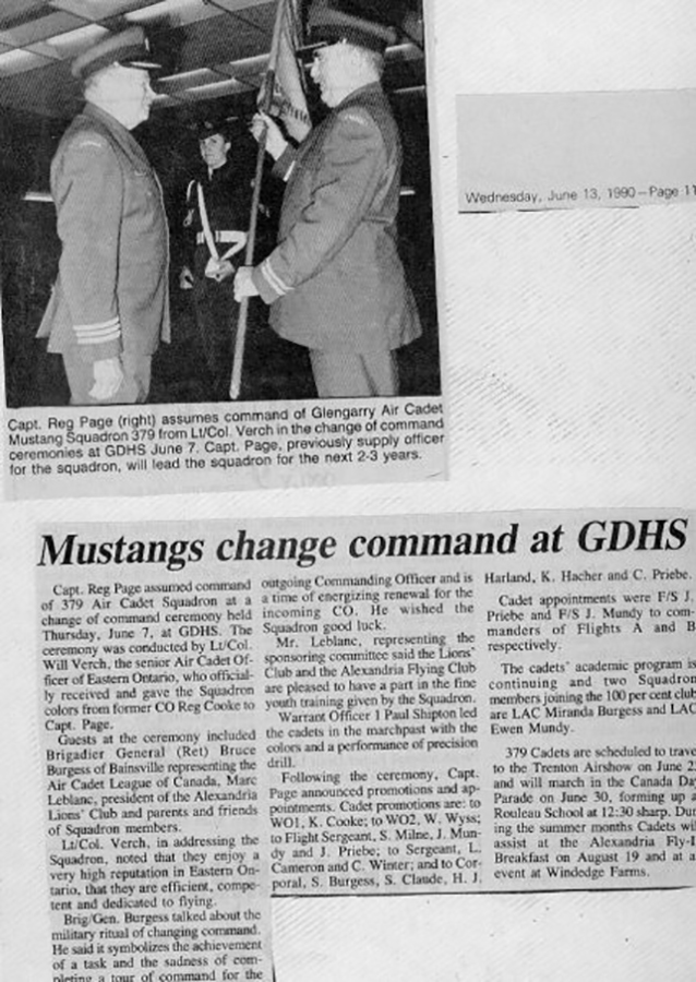 June 1990: Newspaper article on command change.