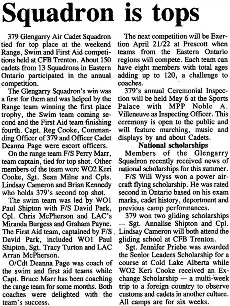 1990: Newspaper article on the succes of the Exertion team.
