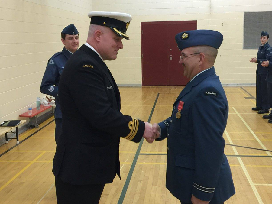 2 May 2017: Capt. Léger got decorated with a long time service medal.