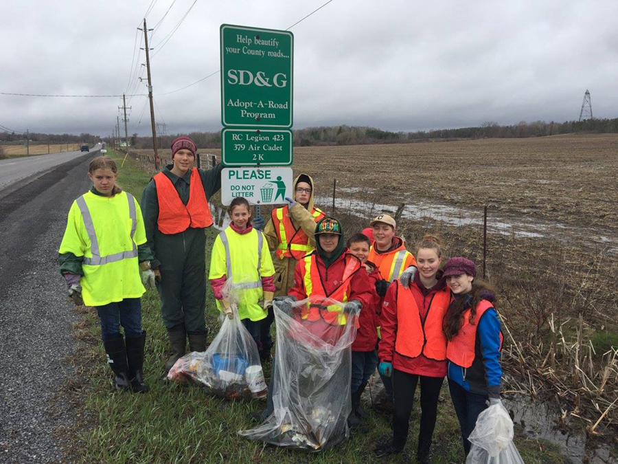 22 April 2017: Some of our cadets cleaned up our Adopt-A-Road section that we share with Legion branch 423. Unfortunately another 10 to 15 garbage bags full.