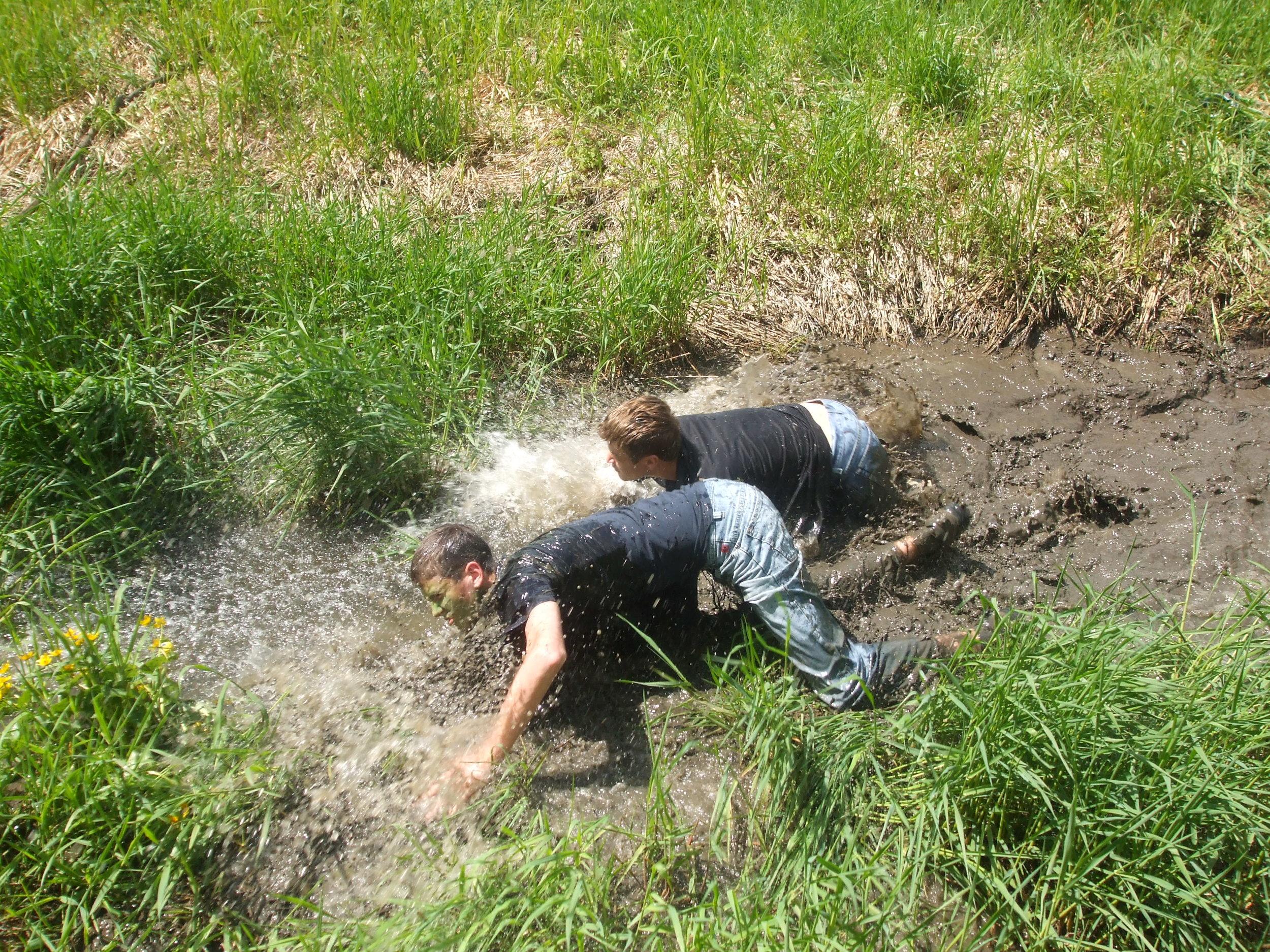 May 2008: Bush weekend at Camp McBean, cadets doing a mud run.