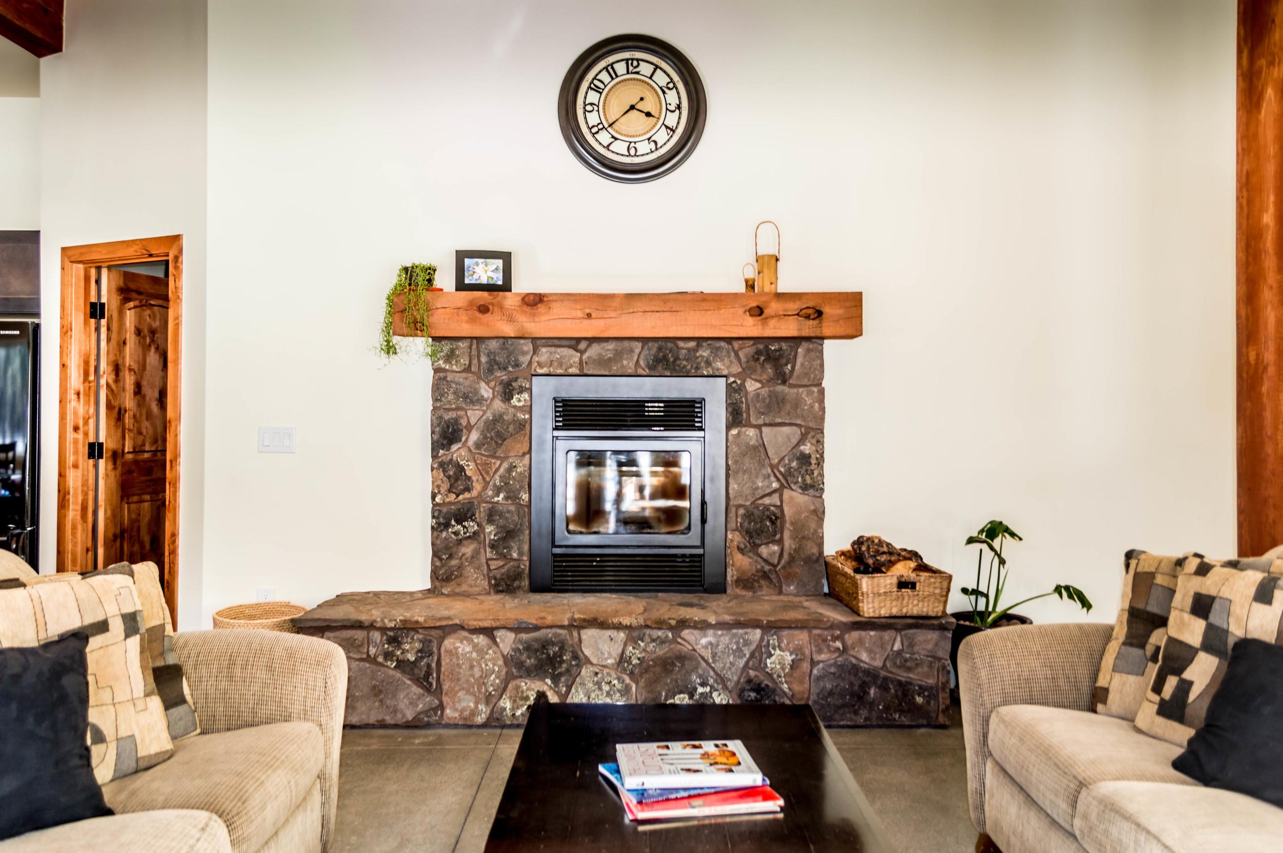Custom fireplace in a residential home near Flagstaff, Arizona.
